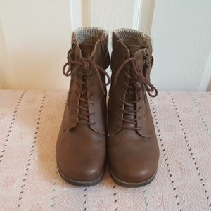 Brown Knit & Faux Leather Combat Boot (Wide Width)